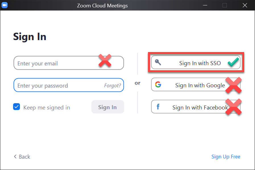 Windows sign-in to Zoom